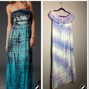 Gypsy 05 silk tie dye strapless ruffle maxi dress